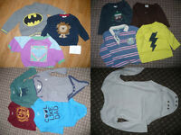 Bundle of 29 boy clothes 6-9-12 mths, mostly from GAP (incl. Batman). VGC!
