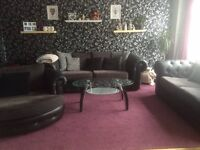 Black and gray sofas 3+2+swivel chair