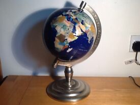 Medium gemstone globe with blue lapis oceans and marble, mother of pearl and semi-precious stone