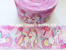 1 Metre pink unicorn grosgrain ribbon - 75mm 3 inch wide - ideal for crafts