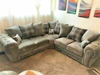 💯BEST SALES, BEST BUYVERONA CHESTERFIELD GREY PLUSH FABRIC 3+2 SOFA SUITE AND CORNER UNIT ON SALE!!