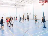 Volleyball on Mondays, 2 courts, 6.45pm beginners coaching/games, 8.15pm intermediate games