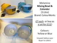 Melamine Mixing Bowl (3 L) & Colander by Colour Works