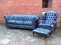 Stunning antique blue leather chesterfield suite 3 seater sofa 1 Queen Anne chair + stool CAN DEL
