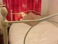 wrought iron cream colour double bed frame and mattress
