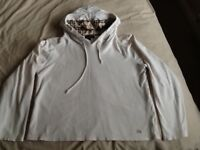 White Burberry cropped hoodie