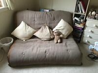 Used Futon, sofa bed. Excellent condition - brown, cream