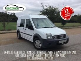 2011 FORD TRANSIT CONNECT HIGH ROOF 1.8 5 SEATS CREW VAN - ONLY 100K - EX POLICE - FSH - NO VAT