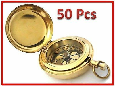 "COMPASS HANDMADE PUSH SOLID BRASS 2"" Inch COMPASS-LOT 50 POCKET WATCH STYLE GIFT"