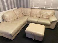 cream leather corner sofa with pedistal