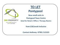 Retail / Office / Therapy Rooms Units available in Pontypool town centre, new & self-contained