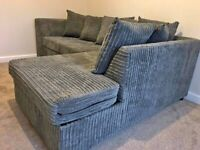 BRAND NEW GREY DYLAN JUMBO CORD CORNER OR 3+2 SEATER SOFA SET AVAILABLE IN STOCK