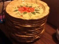 Stunning hand painted large dinner plates X 12