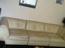 Cream leather sofa (three pieces)