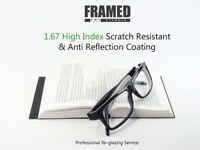 Glasses In-House Reglazing Service 1.67 Super High Index Single Vision Anti Glare Scratch Resistant