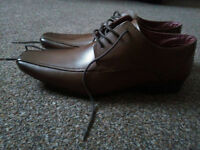 Original Brown Leather Men's Shoes Size 8 EU42 Brand New