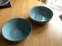 2x Denby Regency Green Large Round Pasta/Serving Dishes