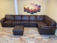 Deep Comfy Modular Brown Leather Corner Sofa