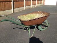 Garden wheelbarrow.