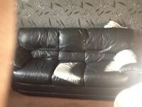 3 seater real leather sofa suit couch dfs