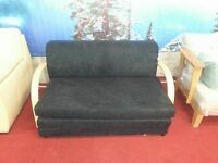 brand new black fabric and wood sofabed