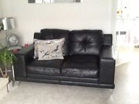 Black leather couch 2 seater x2