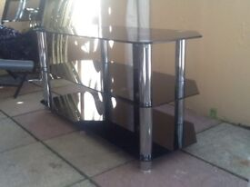 Chrome glass tv stand