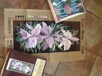 Tapestry kit on canvas. Unopened. Penelope Exotic Bloom Orchids on painted canvas with Anchor wools.
