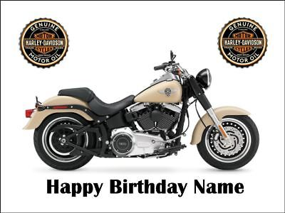 HARLEY DAVIDSON MOTOCYCLE A4 Edible Icing Birthday Cake Decoration Topper - Harley Davidson Birthday Decorations