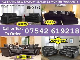 BRAND NEW LEATHER OR FABRIC CORNER OR 3+2 SOFAS 43894