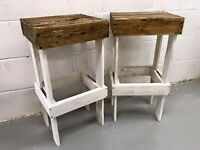 ***2 Reclaimed Wood Bar Stools***£65***FREE DELIVERY***