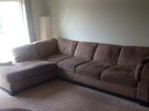 Cocoa coloured microfibre sectional sofa/couch SOLD PPU