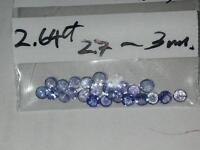 2.64ct- Lot 20pcs Violetish Blue Natural Tanzanite Round 2.7-3mm
