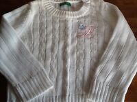 White Benetton cable knit Sweater