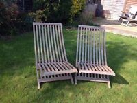 Solid Wood Sun Loungers x 2