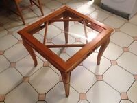 SQUARE GLASS-TOP WOODEN TABLE FOR LOUNGE/HALL/RECEPTION - MATCHING TABLE AVAILABLE!!!