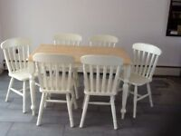 SHABBY CHIC PINE FARMHOUSE TABLE & 6 MATCHING CHAIRS