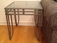 Side Table - glass top /Silver steel legs