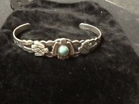 Native American sterling silver thunderbird cuff bracelet