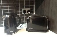 Russell Hobbs black metal kettle and toaster