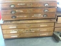 Vintage plan chests