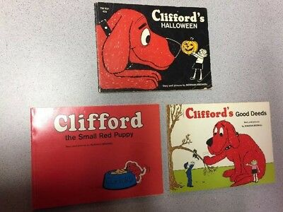 3 CLIFFORD THE SMALL RED PUPPY HALLOWEEN BOOKS GOOD DEEDS 1975 NORMAN BRIDWELL - Barney Halloween Book