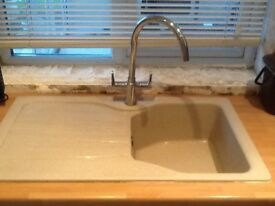 Mono block chrome kitchen mixer tap with hoses. Excellent condition