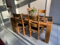 Solid Oak Dining Table + 4 Dining Chairs