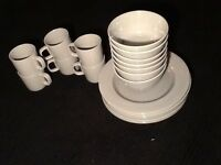 Modern stylish M&S STONEWARE, BROOKLYN, dinner set. Beautiful mid greycolour £50 for the set.