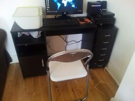 Desk + chair + chest of drawers