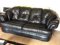 Large black 3 seater leather sofa