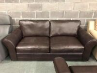 Brown leather 3 seater sofa + 2 x Armchairs