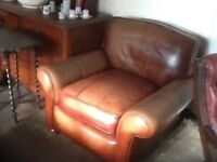 Brown leather very comfortable french style armchair