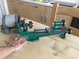 LOVELY VINTAGE GAMAGE MODELLERS ENGINEERS LATHE + MOTOR - RAILWAY TOOLS AEROPLANES - MOTORCYCLES CAR